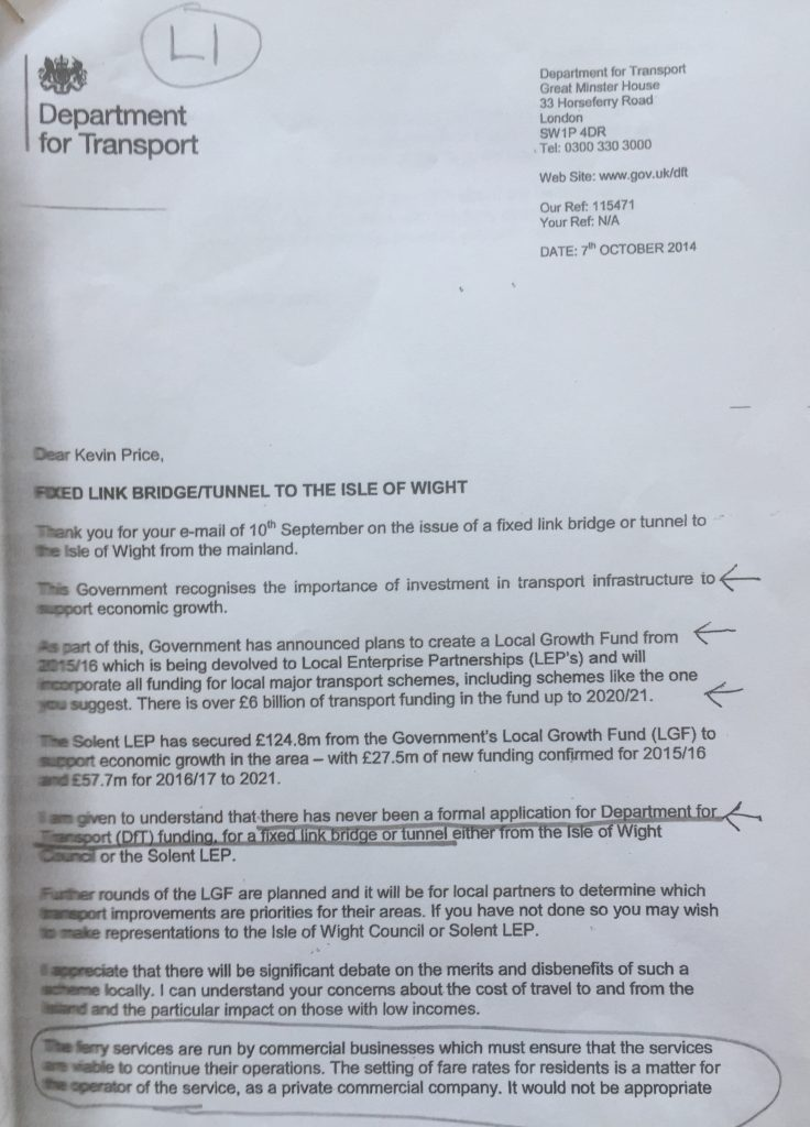 Initial letter from DfT