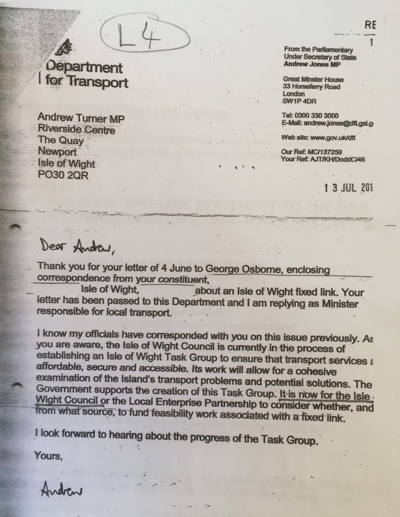 l4 letter to a. turner mp from under secretary of state - andrew