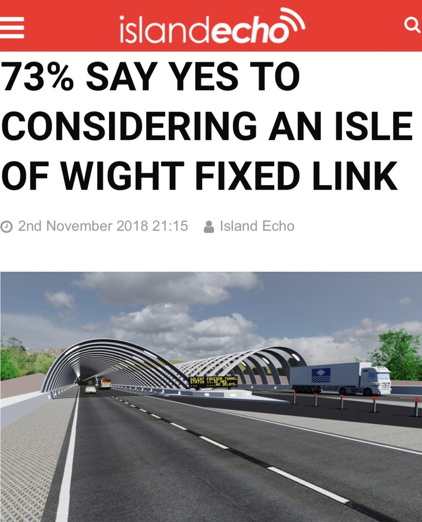 73% in favour of an Isle of Wight fixed Link / Solent Freedom Tunnel