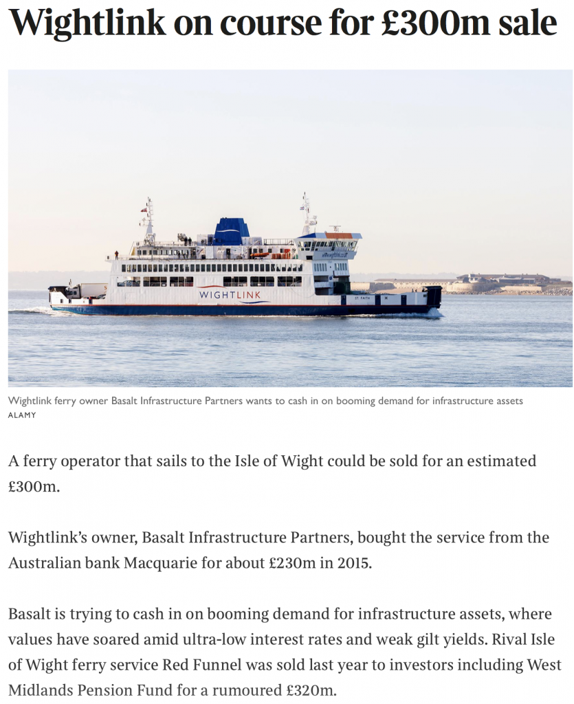 Macquarie sell Wightlink / Solent Freedom Tunnel